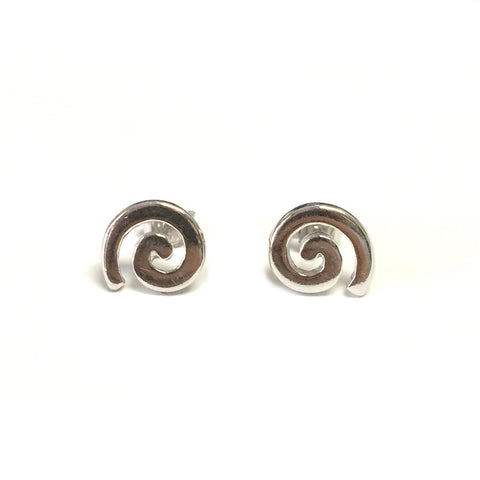 Sterling Silver Rhodium Plated Greek Spira Stud Earrings