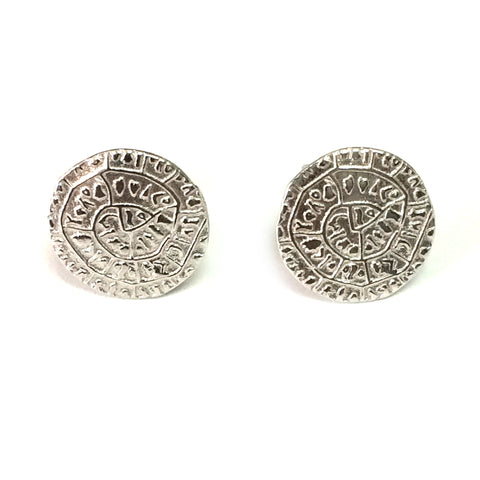 Sterling Silver Rhodium Plated Phaistos Disc Stud Earrings