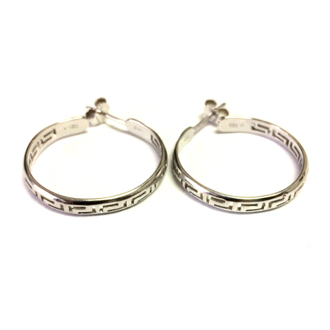 Sterling Silver Rhodium Plated Greek Key Hoop Earrings