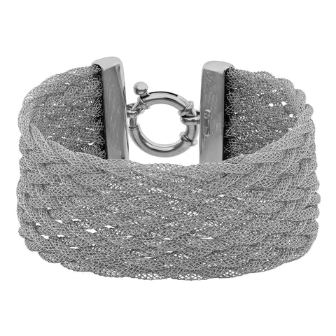 Plated Sterling Silver Braided Mesh Bracelet, 7.75""