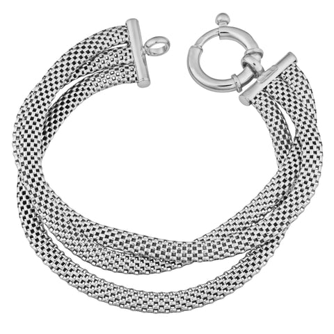 Sterling Silver Three Row Cage Link Bracelet, 7.5""