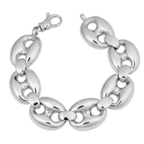 Sterling Silver Puffed Mariner Bracelet, 7.5""