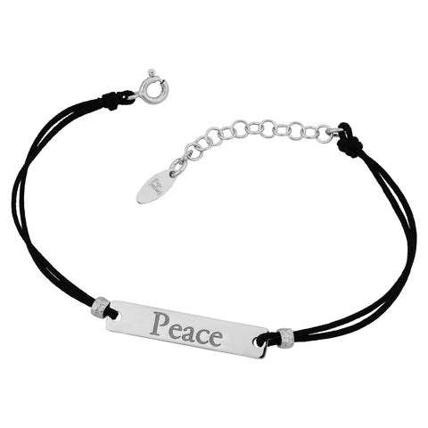Sterling Silver Peace Plate and Cord Adjustable Bracelet, 7.5""