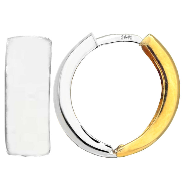 14k 2 Tone Gold Snuggable Huggie Reversible Earrings, Diameter 15mm