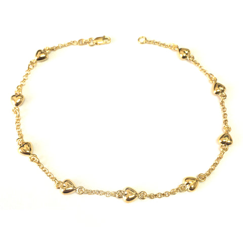 14K Yellow Gold Puffed Hearts Anklet, 10""