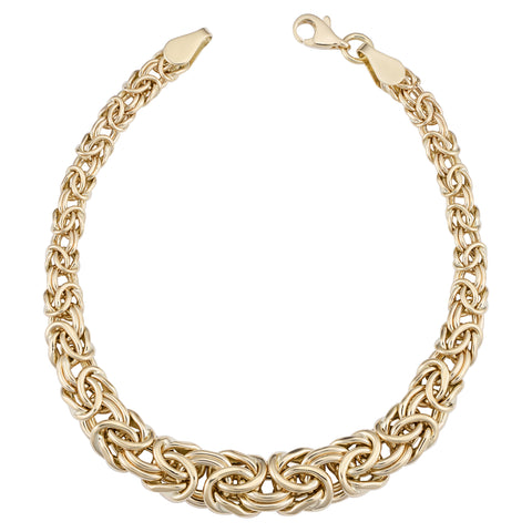 14k Yellow Gold Graduated Byzantine Womens Bracelet, 7.5""