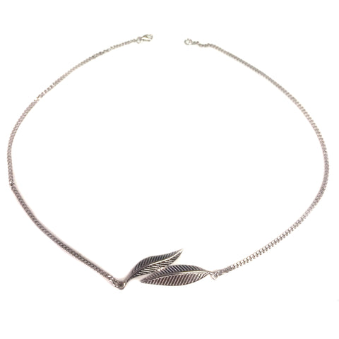 Olive Leaf Necklace In Sterling Silver, 16""