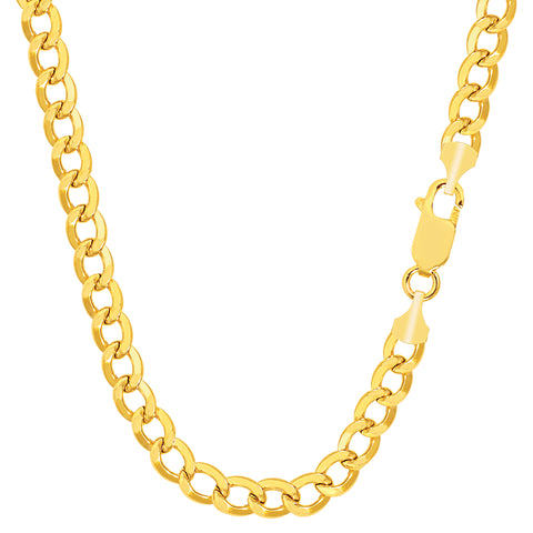 14k Yellow Gold Curb Hollow Chain Necklace, 3.6mm