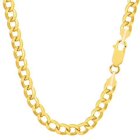 14k Yellow Gold Curb Hollow Chain Necklace, 4.7mm