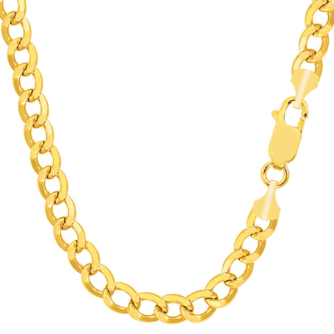 14k Yellow Gold Curb Hollow Chain Necklace, Width 5.5mm