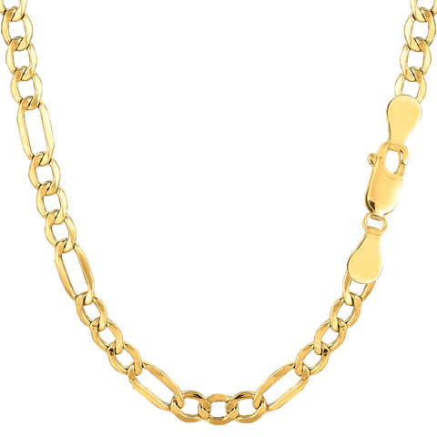 14k Yellow Gold Hollow Figaro Chain Necklace, 4.6mm - JewelryAffairs  - 1