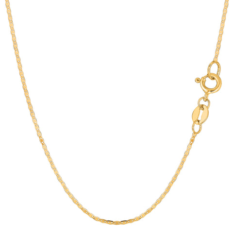 14k Yellow Gold Mariner Link Chain Necklace, 1.2mm - JewelryAffairs  - 1