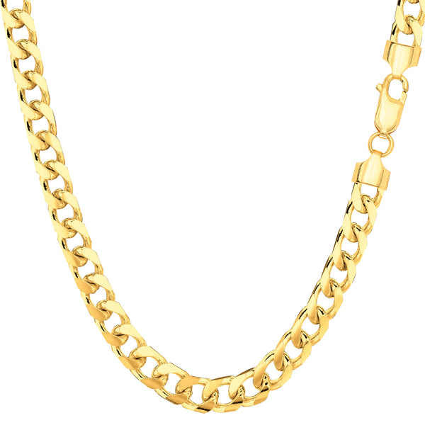 14k Yellow Solid Gold Miami Cuban Link Chain Mens Bracelet, 5mm, 8.5""