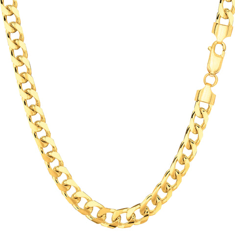 14k Yellow Gold Miami Cuban Link Chain Necklace - Width 4.4mm - JewelryAffairs  - 1