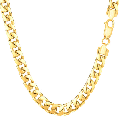 14k Yellow Gold Miami Cuban Link Chain Necklace - Width 5.8mm - JewelryAffairs  - 1