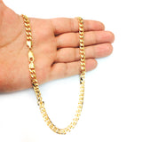 14k Yellow Gold Miami Cuban Link Chain Necklace, Width 5.8mm