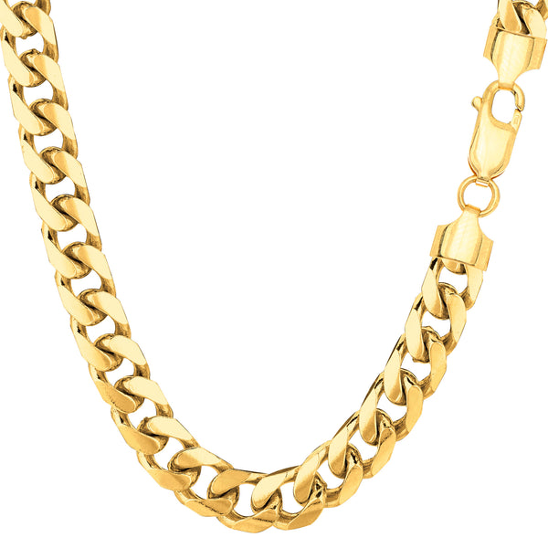 14k Yellow Gold Miami Cuban Link Chain Necklace - Width 6.9mm - JewelryAffairs  - 1