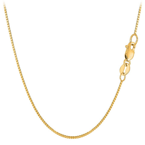 18k Yellow Solid Gold Mirror Box Chain Necklace, 0.6mm