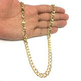 14K Yellow Gold filled Solid Curb Chain Necklace, 7.0mm Wide