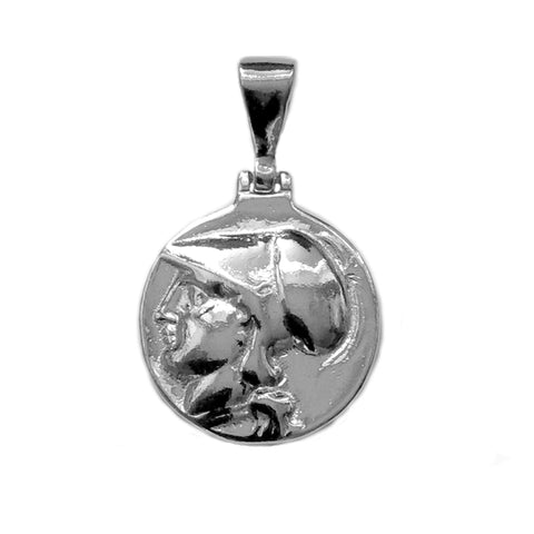Sterling Silver Athena Greek Goddess Pendant, Diameter 20mm