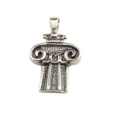 Sterling SilverRhodium Plated Greek Ionic Architecture Pendant