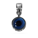 Sterling Silver Greek Meandros Evil Eye Charm Pendant