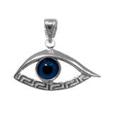 Sterling Silver Greek Key Evil Eye Meandros Pendant