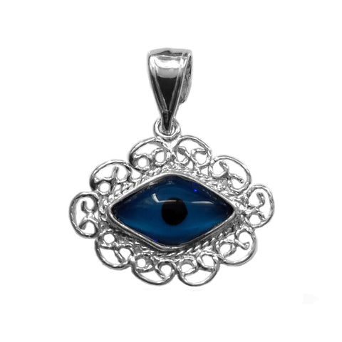 Filigree Evil Eye Pendant In Sterling Silver, 22 X 25 mm - JewelryAffairs  - 1