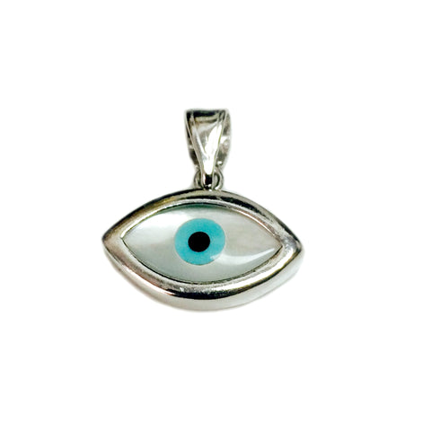 Sterling Silver Evil Eye Pendant Charm, 23 x 13mm