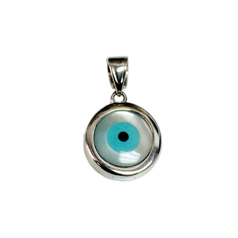 Sterling Silver Evil Eye Pendant Charm, 12mm