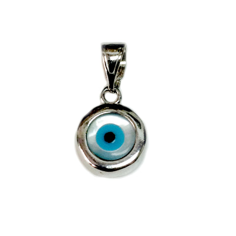 Sterling Silver Evil Eye Pendant Charm, 10mm