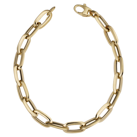 14k Yellow Gold Fancy Oval Link Bracelet, 8""
