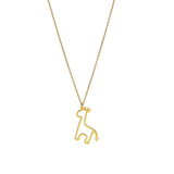 14k Yellow Gold Giraffe Charm On Oval Link Chain Necklace, 18""
