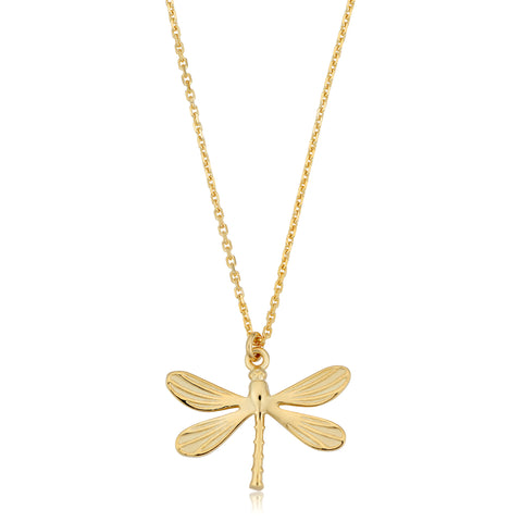 "14K Yellow Gold Dragonfly Pendant On 18"" Necklace"