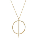 "14K Yellow Gold Circle And Bar On 16"" To 17"" Adjustable Necklace"