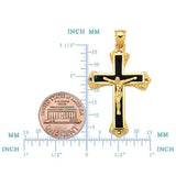 14k Yellow Gold And Black Enamel Crucifix Cross Mens Pendant - JewelryAffairs  - 2