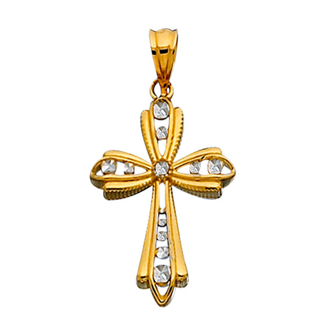 14k 2 Tone Gold Diamond Cut And Rigid Finish Cross Pendant