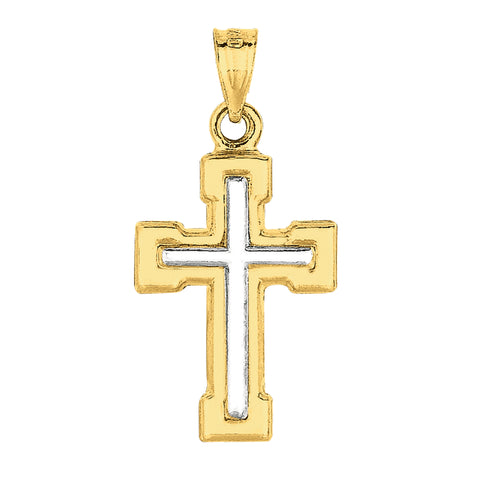 14k 2 Tone Gold Shiny Finish Square Tube Cross Pendant