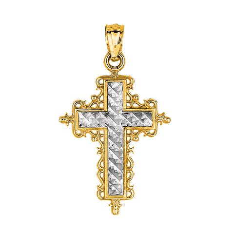 14k 2 Tone Gold Diamond Cut Round Filigree Design Cross Pendant
