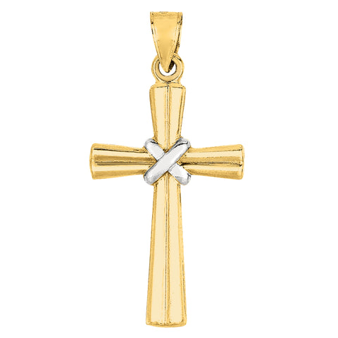 14k 2 Tone Gold Shiny Finish Cross Pendant - JewelryAffairs  - 1