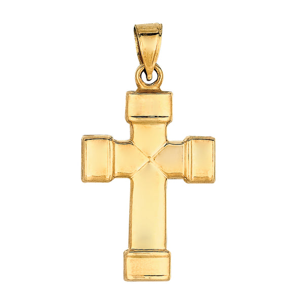 14k Yellow Gold Shiny Finish Square Tube Cross Pendant