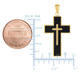 14k Yellow Gold And Black Enamel Cross Mens Pendant