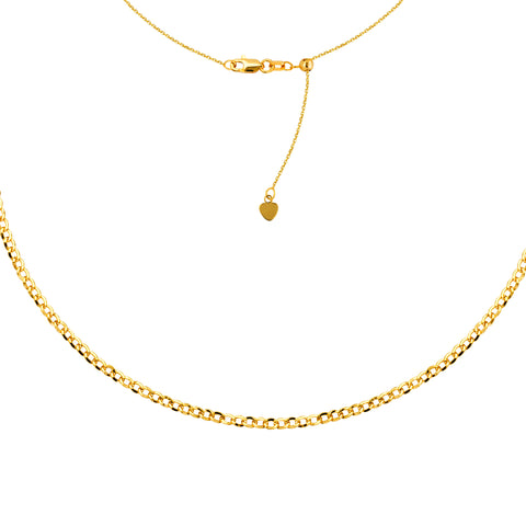 "Curb Chain Choker 14k Yellow Gold Necklace, 16"" Adjustable"