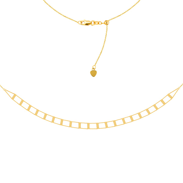 "Railroad Choker 14k Yellow Gold Necklace, 16"" Adjustable"