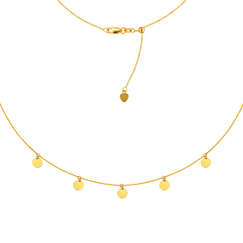 "5 Dangle Mini Disc Choker 14k Gold Necklace, 16"" Adjustable"