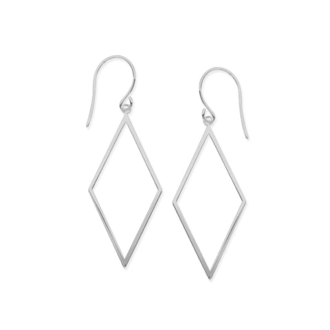14K White Gold Shiny Drop Triangle Earrings