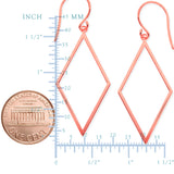 14K Rose Gold Shiny Drop Triangle Earrings