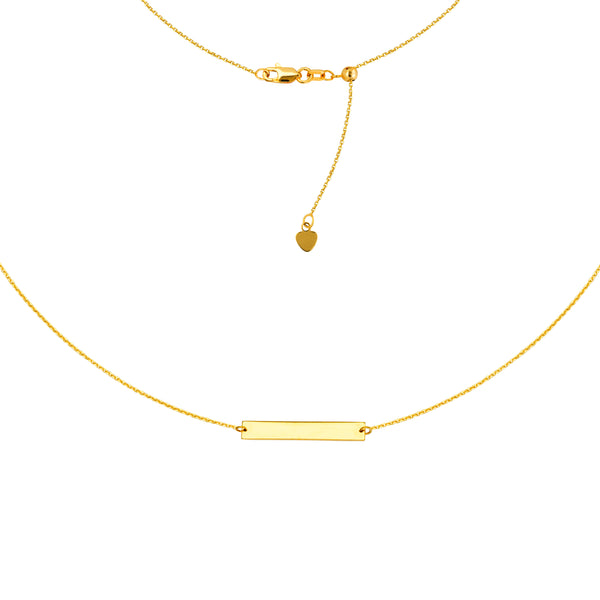 "Engravable Bar Choker 14k Gold Necklace, 16"" Adjustable"