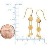 14K Yellow Gold Shiny Drop Round Discs Earrings