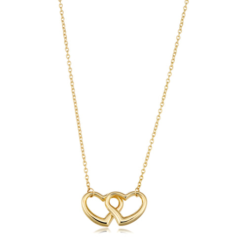 "14K Yellow Gold Double Heart Pendant On 17"" Necklace"